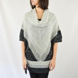 BCBGMAXAZRIA Gray Wool Poncho Cowl Neck Sweater